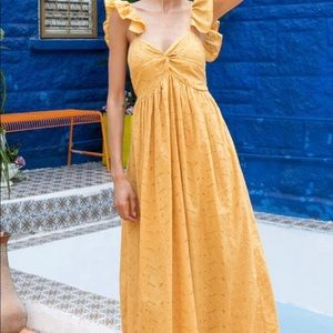 Embroidered Eyelet Maxi Dress in Mustard NWT